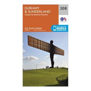 ORDNANCE SURVEY Explorer 308 Durham & Sunderland Map With Digital Version