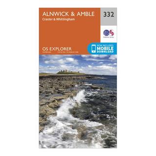 Explorer 332 Alnwick & Amble Map With Digital Version