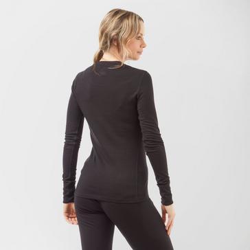Black Odlo Women's Merino Crew Neck Long Sleeve Shirt