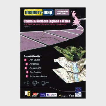 Black Memory Map Central & Northern England & Wales GPS Maps