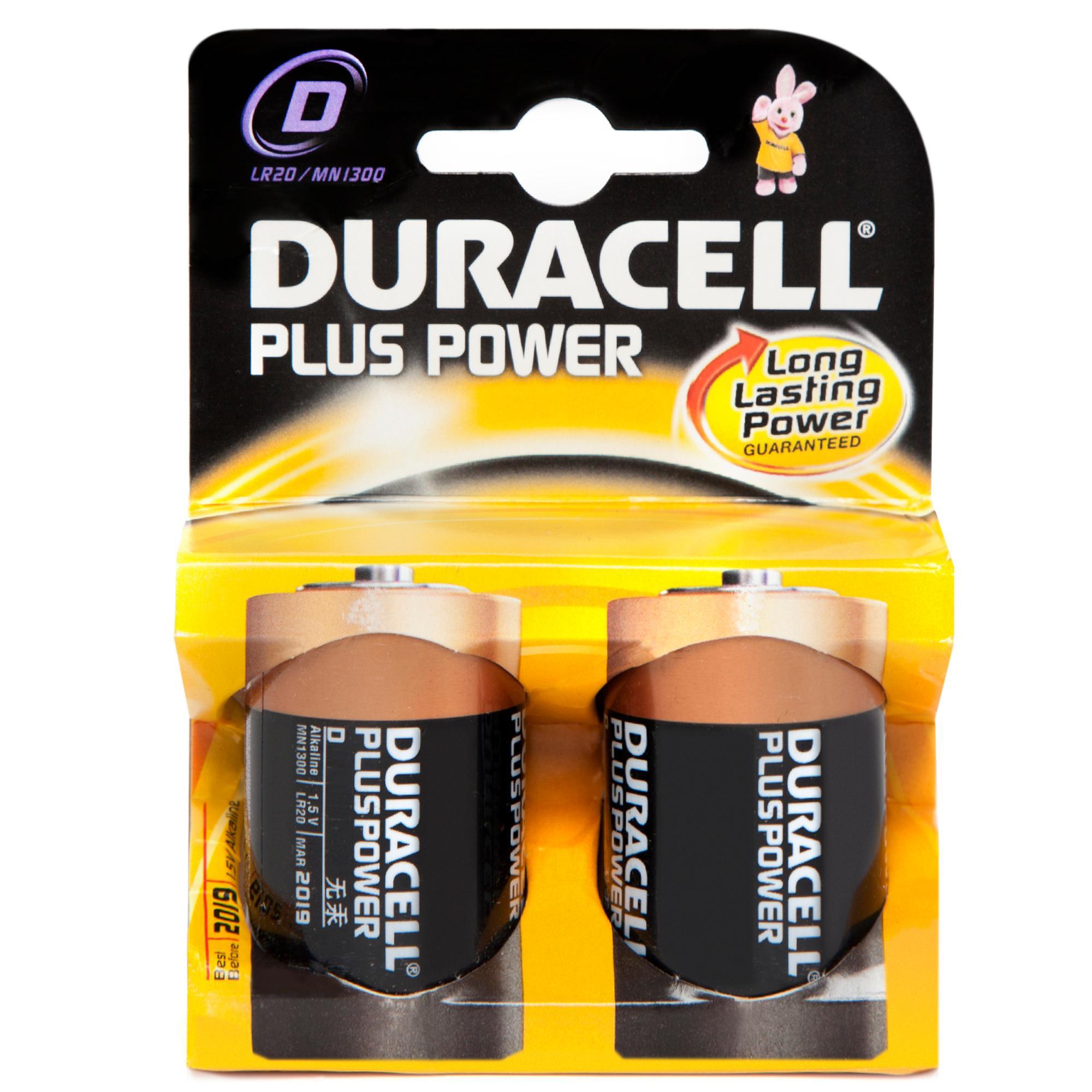 Duracell Plus Power D2 Batteries 2 Pack, Black
