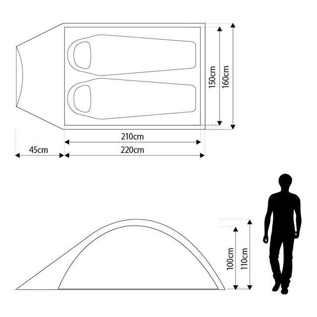 Eurohike Tamar 3 Replacement Black Coded Fibreglass Main Tent Pole Run