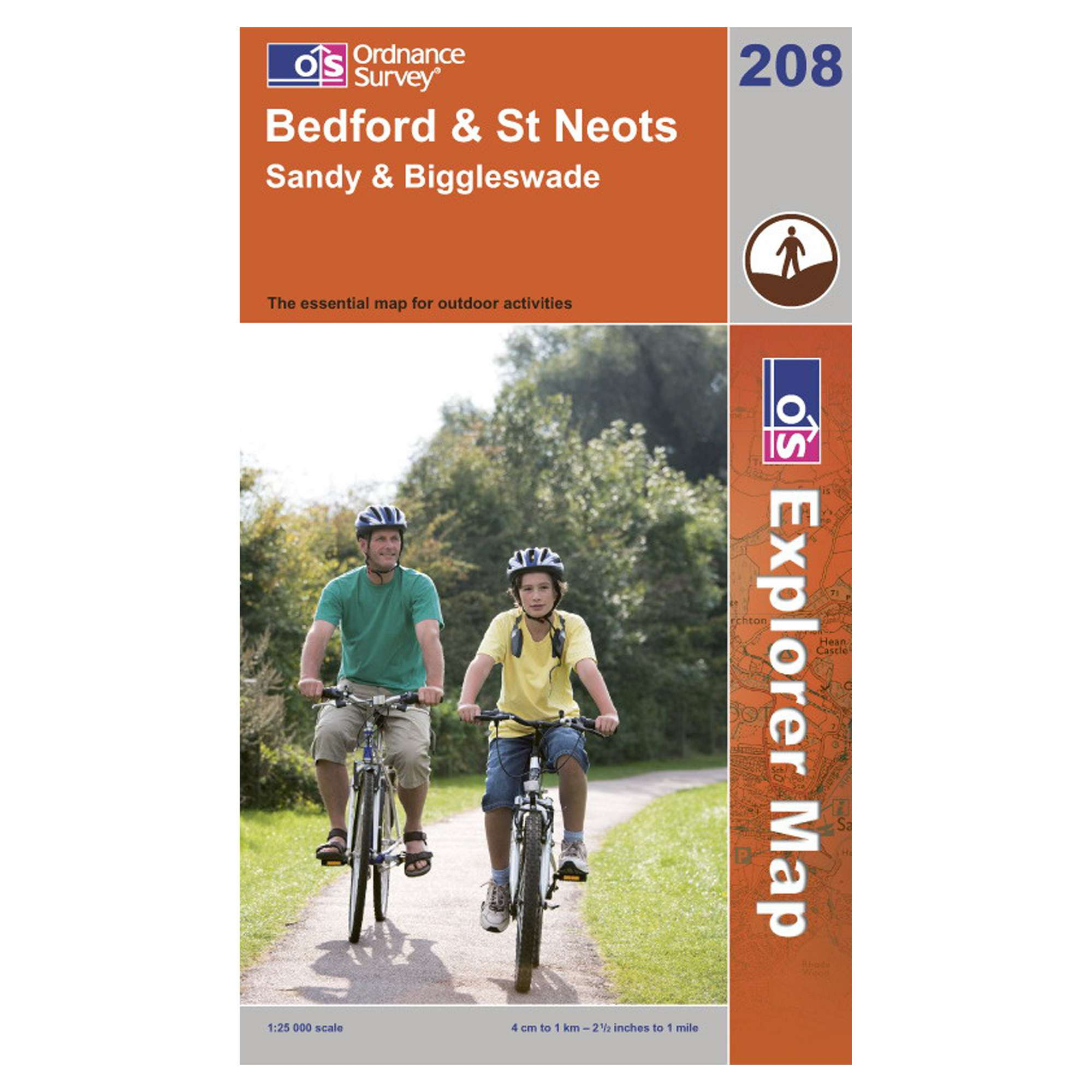 ORDNANCE SURVEY Explorer 208 Bedford & St Neots Map