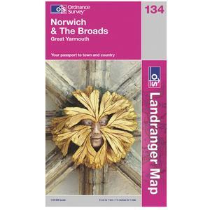 ORDNANCE SURVEY Landranger 134 Norwich & The Broads Map
