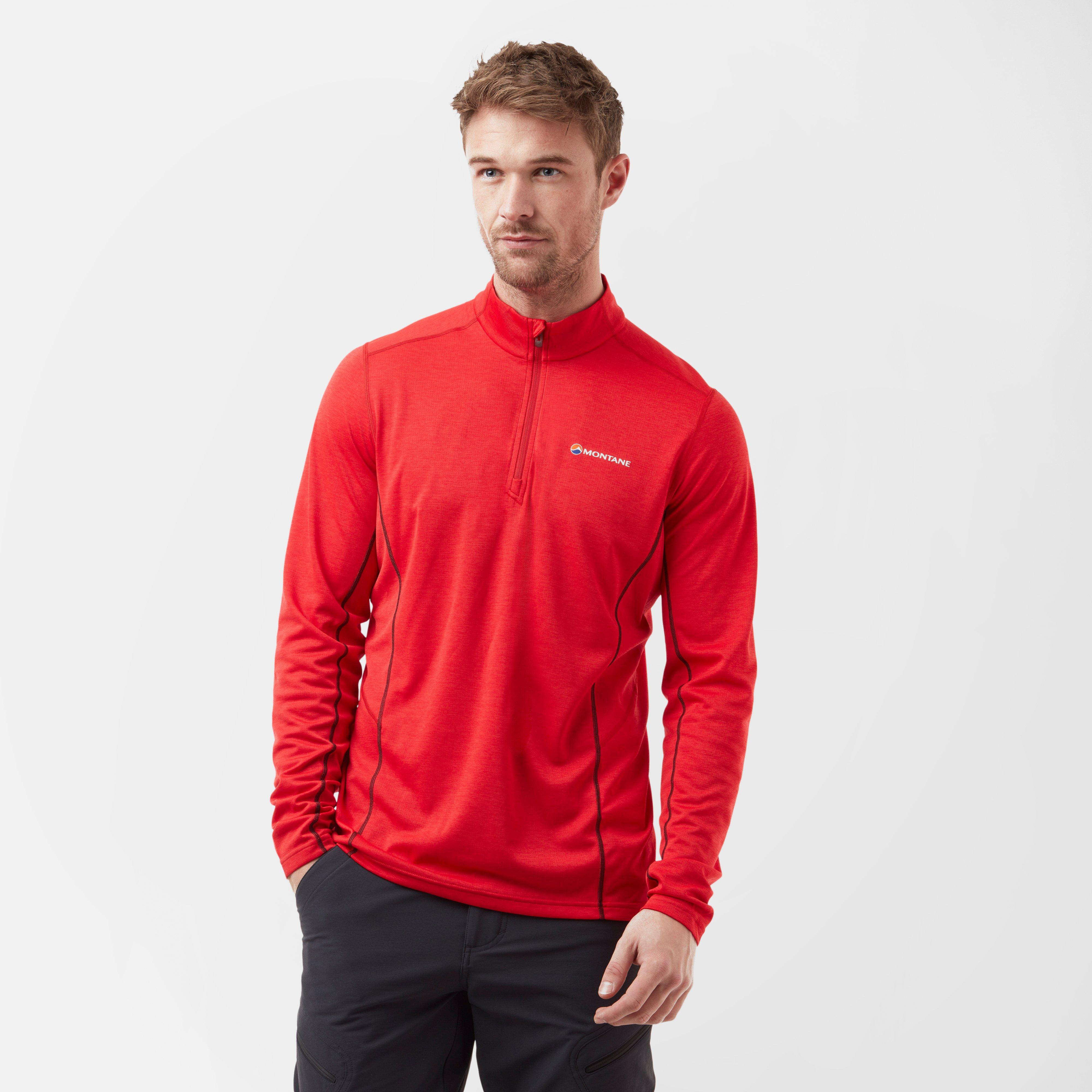 Montane Montane Mens Dart ¼ Zip Top - Red, Red