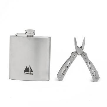 Silver Eurohike Hip Flask And Multi Tool