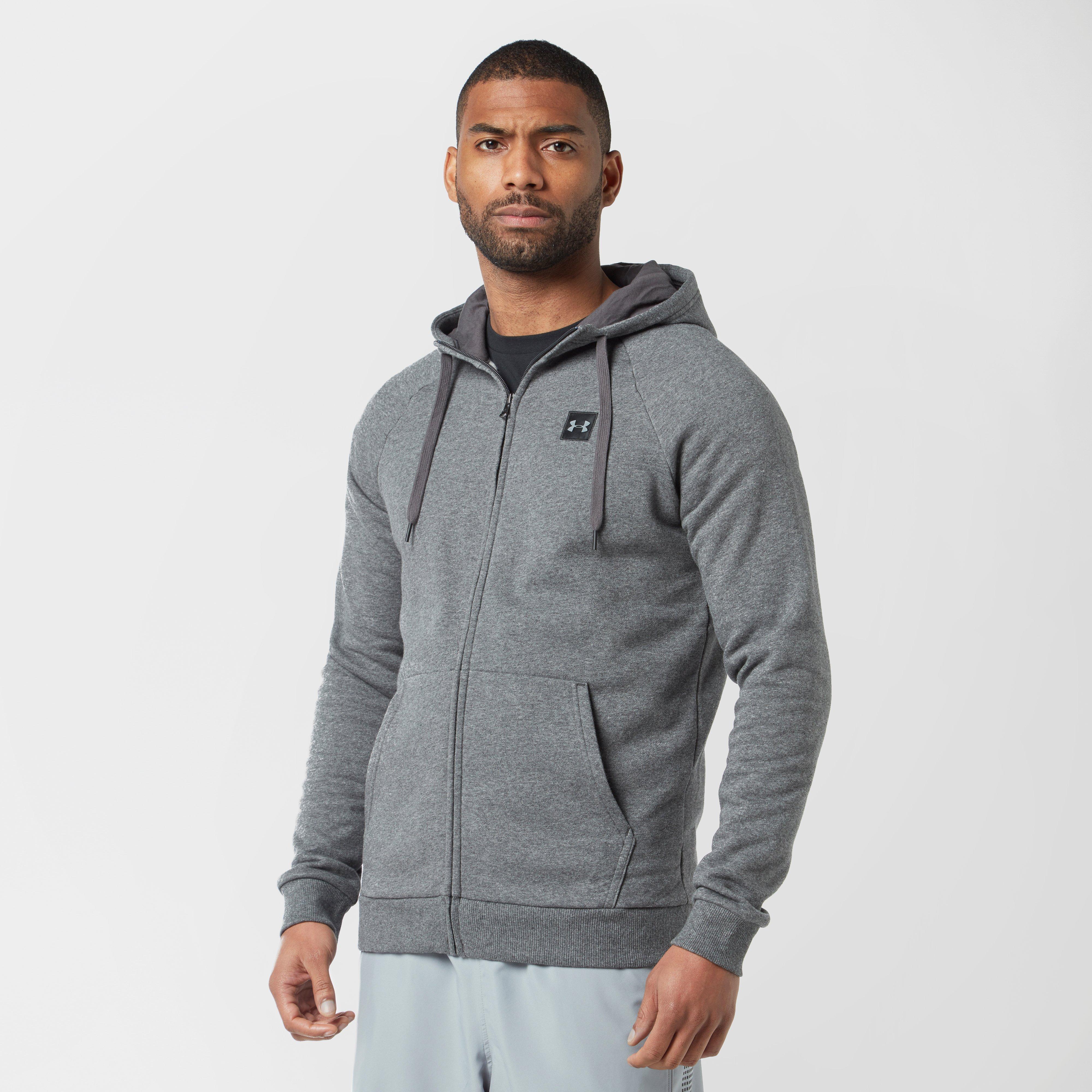 Image of Under Armour Men's Rival Full-Zip Fleece Hoodie - Grey/Grey, Grey/Grey