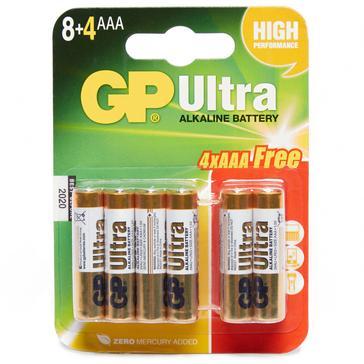 Multi GP Batteries Ultra Alkaline AAA Batteries 8+4 Pack