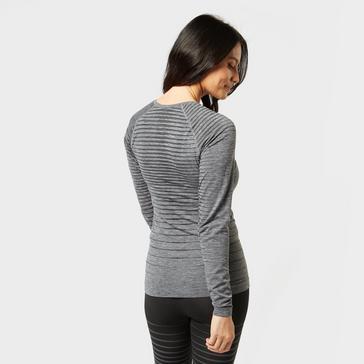 Grey|Grey Odlo Women's SUW Performance Light Long Sleeve Baselayer Top