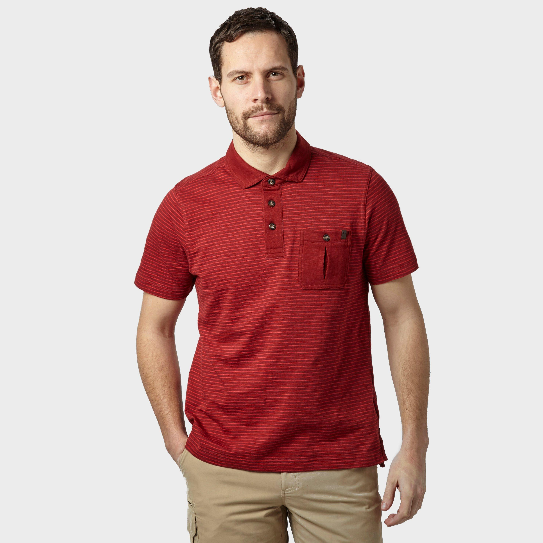 Brasher Brasher Mens Robinson Stripe Polo Shirt - Red, Red