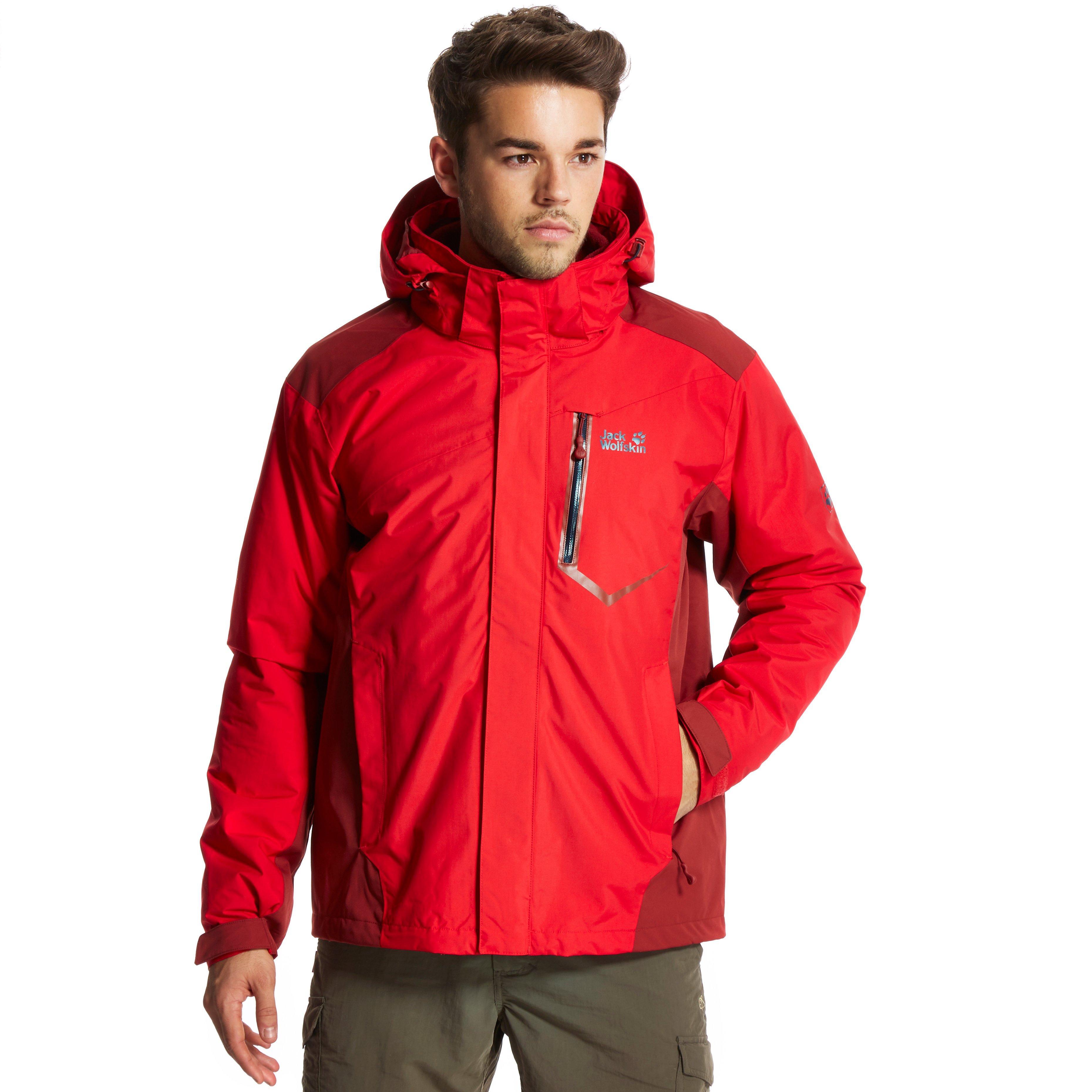 jack wolfskin men 39 s prisma 3 in 1 jacket red ebay. Black Bedroom Furniture Sets. Home Design Ideas