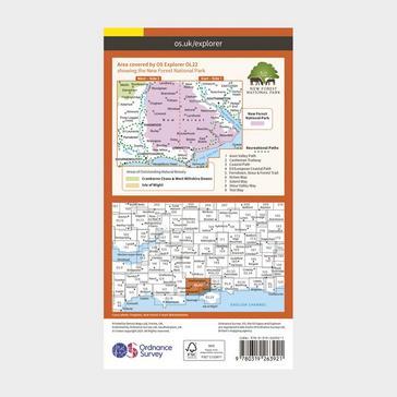 Orange Ordnance Survey Explorer OL22 New Forest Map With Digital Version