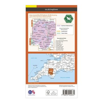 Orange Ordnance Survey Explorer OL28 Dartmoor Map With Digital Version