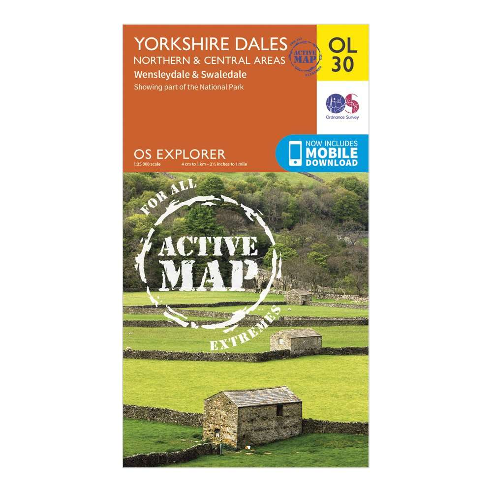 ORDNANCE SURVEY Explorer Active OL30 Yorkshire Dales - Northern & Central Areas Map With Digital Version