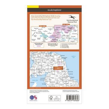 Orange Ordnance Survey Explorer Active OL42 Kielder Water & Forest Map With Digital Version