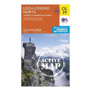 ORDNANCE SURVEY Active Explorer OL 39 Loch Lomond North Map