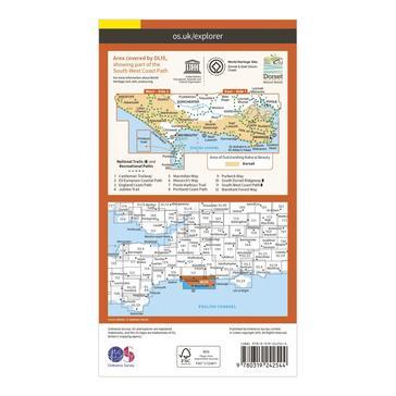 Orange Ordnance Survey Explorer OL15 Purbeck & South Dorset Map With Digital Version