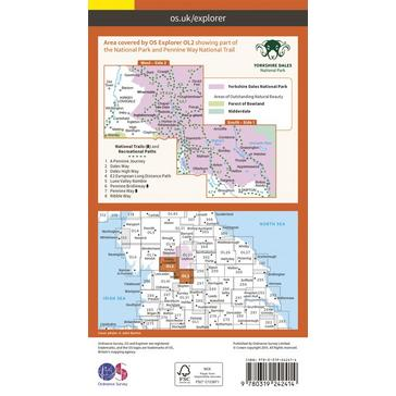 Orange Ordnance Survey Explorer OL2 Yorkshire Dales - Southern & Western Areas Map With Digital Version