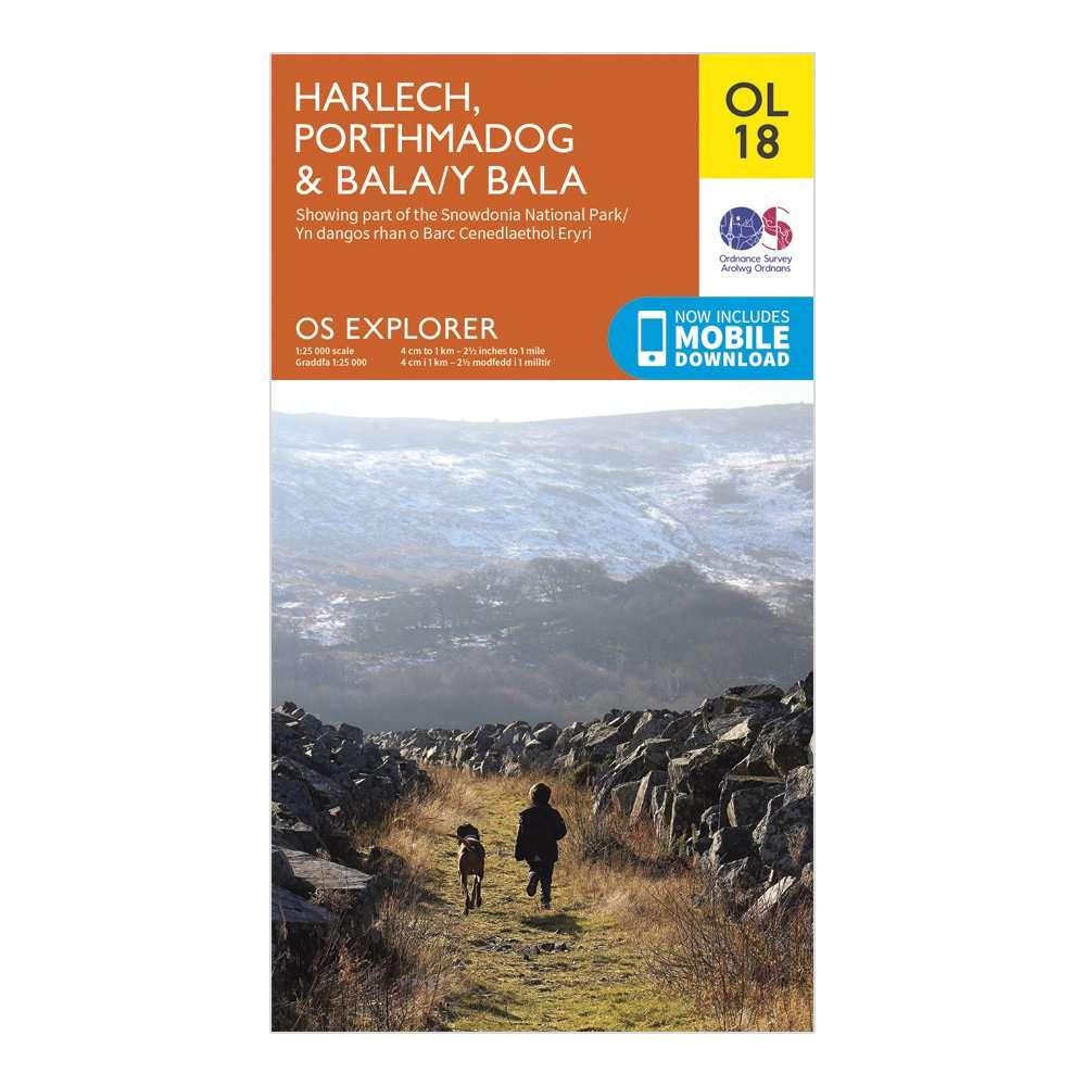ORDNANCE SURVEY Explorer OL 18 Harlech, Porthmadog & Bala Map