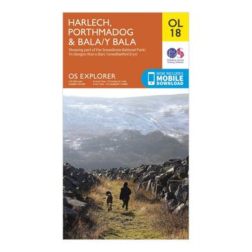 Orange Ordnance Survey Explorer OL18 Harlech, Porthmadog & Bala Map With Digital Version