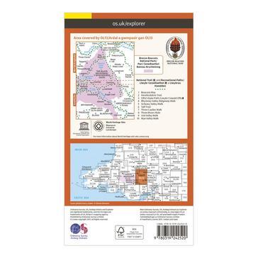 Orange Ordnance Survey Explorer OL13 Brecon Beacons National Park - Eastern Area Map With Digital Version
