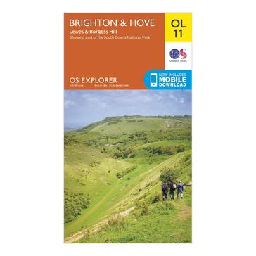 Orange Ordnance Survey Explorer OL 11 Brighton & Hove Map