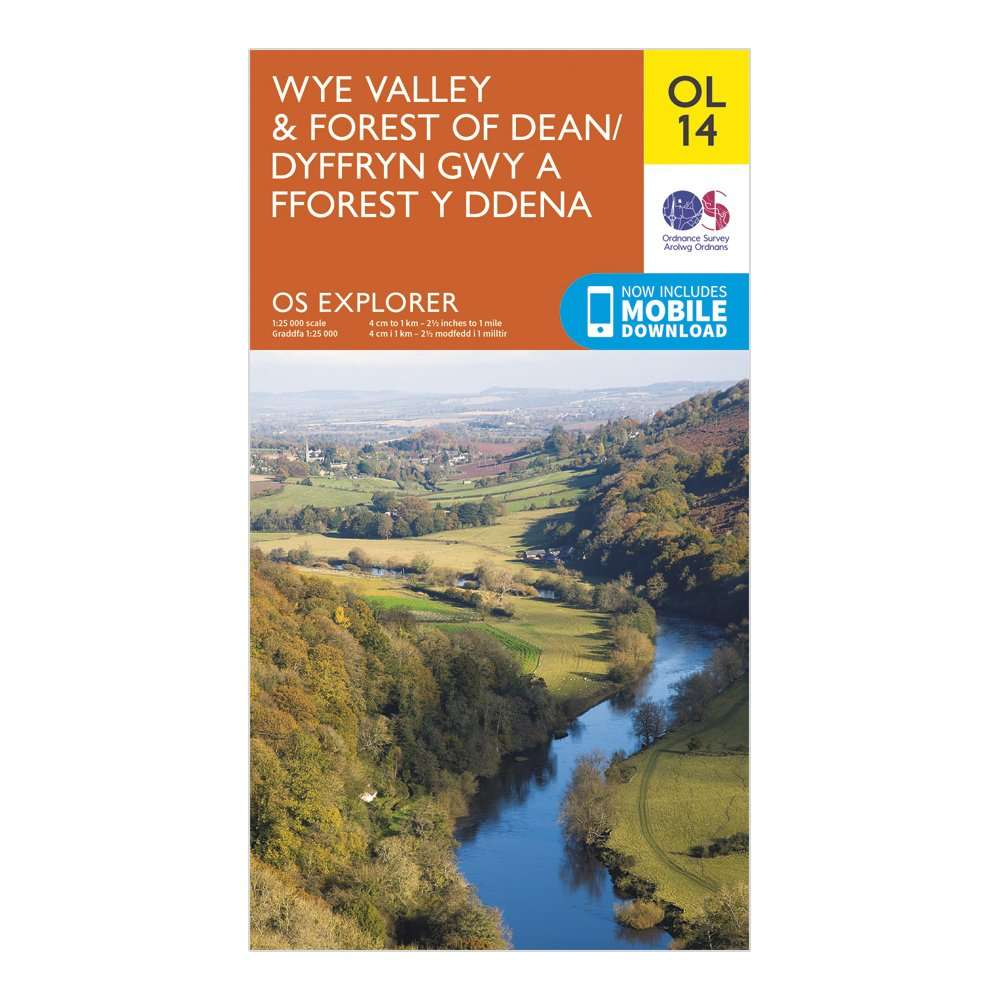 ORDNANCE SURVEY Explorer OL14 Wye Valley & Forest of Dean Map With Digital Version