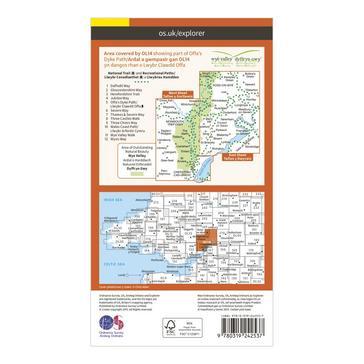 Orange Ordnance Survey Explorer OL14 Wye Valley & Forest of Dean Map With Digital Version