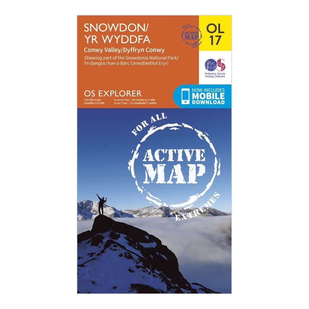 ORDNANCE SURVEY Explorer Active OL17 Snowdon & Conwy Valley Map With Digital Version