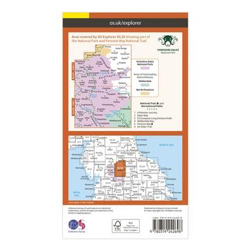 Orange Ordnance Survey Explorer OL30 Yorkshire Dales - Northern & Central Areas Map With Digital Version