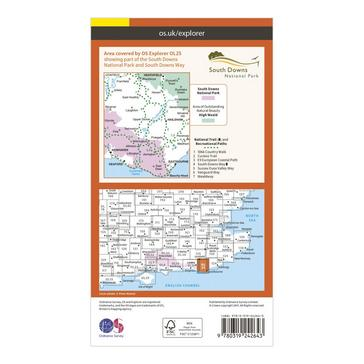 Orange Ordnance Survey Explorer OL25 Eastbourne & Beachy Head Map With Digital Version