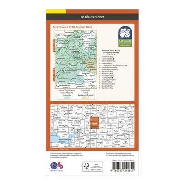 Orange Ordnance Survey Explorer OL 45 The Cotswolds Map