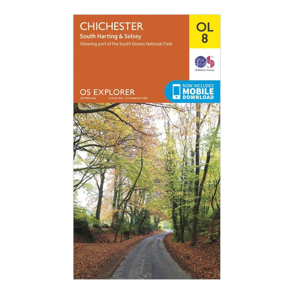 ORDNANCE SURVEY Explorer OL8 Chichester, South Harting & Selsey Map With Digital Version