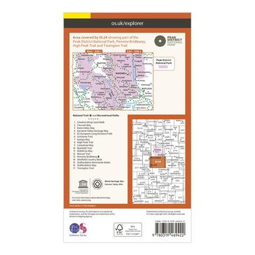 Orange Ordnance Survey Explorer OL24 The Peak District Map With Digital Version