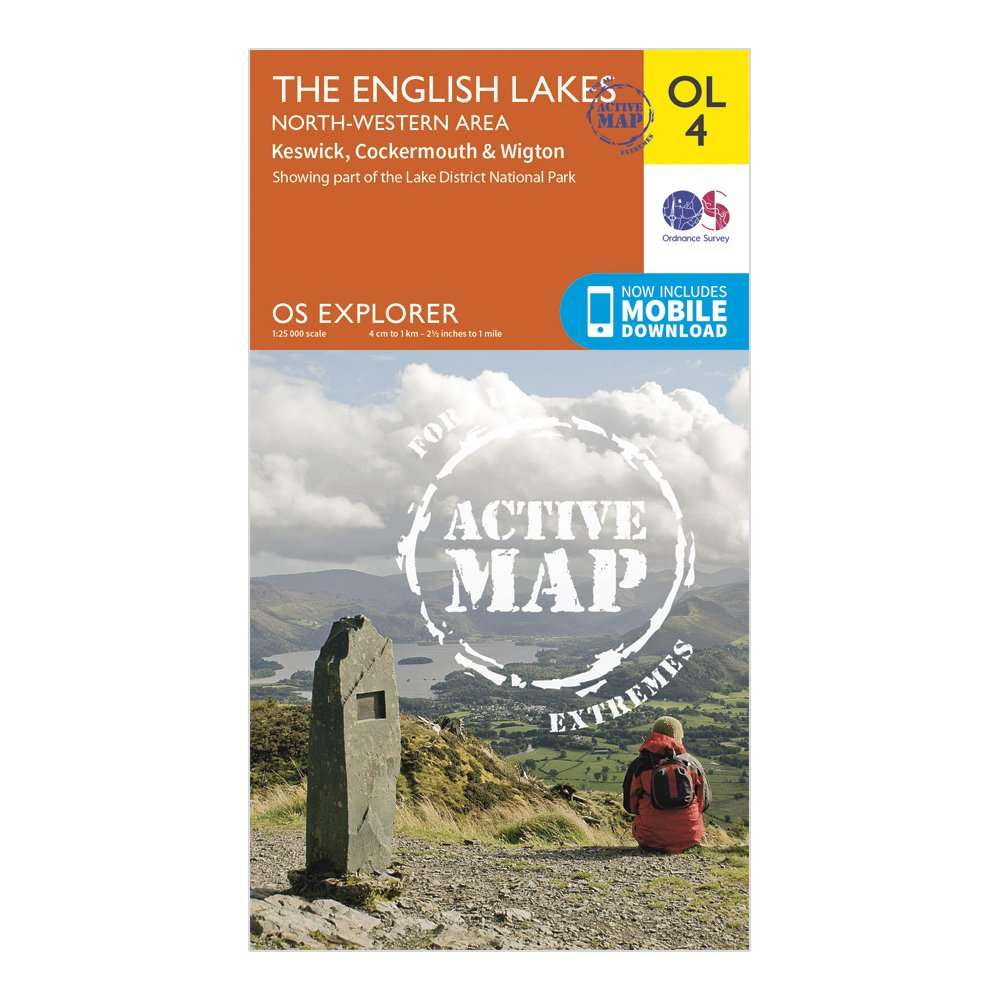ORDNANCE SURVEY Explorer Active OL4 The English Lakes - North Western Area Map With Digital Version