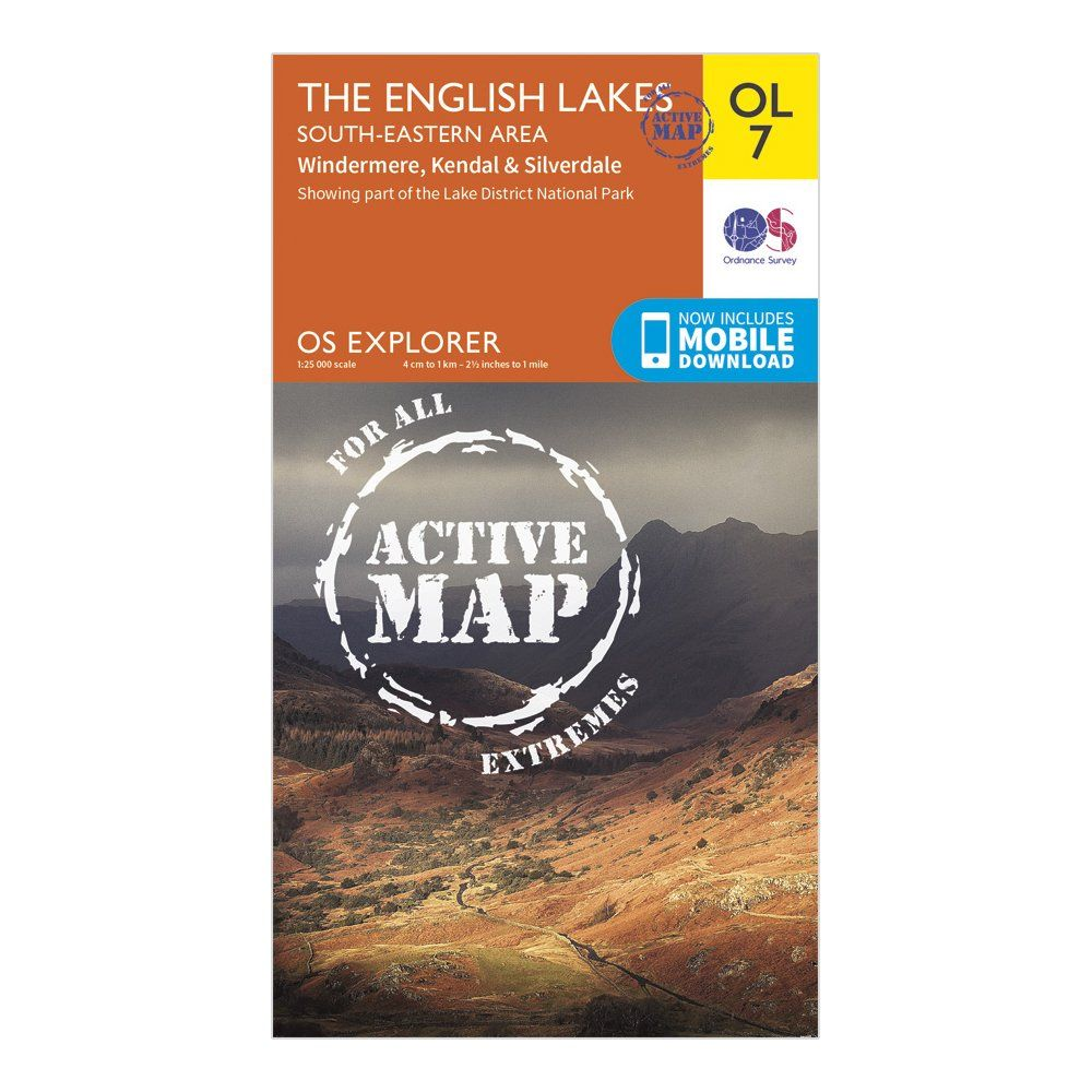 ORDNANCE SURVEY Explorer Active OL 7 The English Lakes - South Eastern Area Map