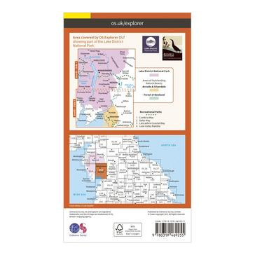 Orange Ordnance Survey Explorer Active OL7 The English Lakes - South Eastern Area Map With Digital Version