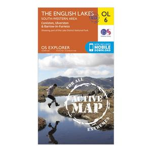 ORDNANCE SURVEY Explorer Active OL6 The English Lakes - South Western Area Map