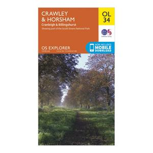 ORDNANCE SURVEY Explorer OL 34 Crawley & Horsham Map