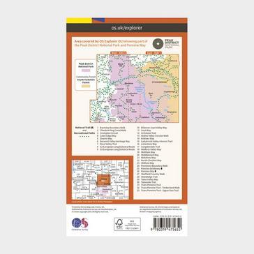 Orange Ordnance Survey Explorer Active OL1 The Peak District - Dark Peak Area Map With Digital Version