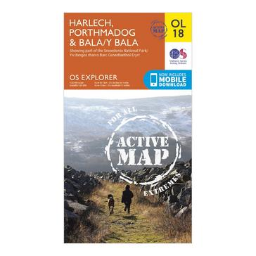 Orange Ordnance Survey Explorer Active OL18  Harlech, Porthmadog & Bala Map With Digital Version