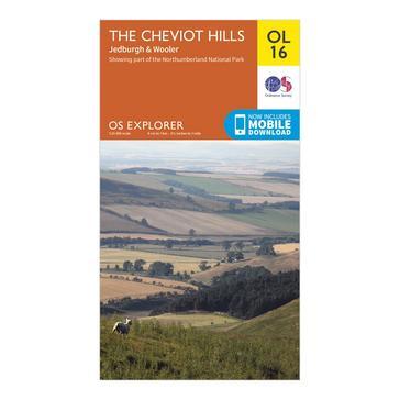 Orange Ordnance Survey Explorer OL 16 The Cheviot Hills Map