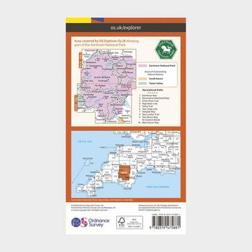 Orange Ordnance Survey Explorer Active OL28 Dartmoor Map With Digital Version