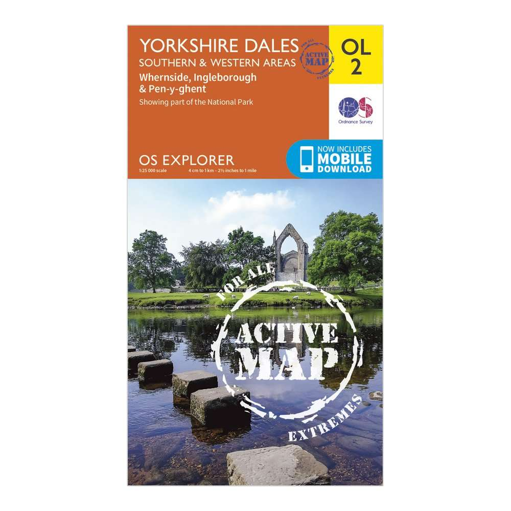 ORDNANCE SURVEY Explorer Active OL2 Yorkshire Dales - Southern & Western Areas Map With Digital Version