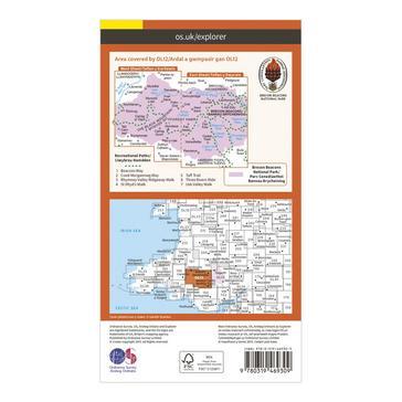 Orange Ordnance Survey Explorer Active OL12 Brecon Beacons National Park - Western & Central Areas Map With Digital Version