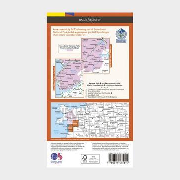 Orange Ordnance Survey Explorer Active OL23 Cadair Idris & Llyn Tegid Map With Digital Version