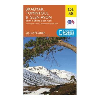 Explorer OL58 Braemar, Tomintoul & Glen Avon Map With Digital Version