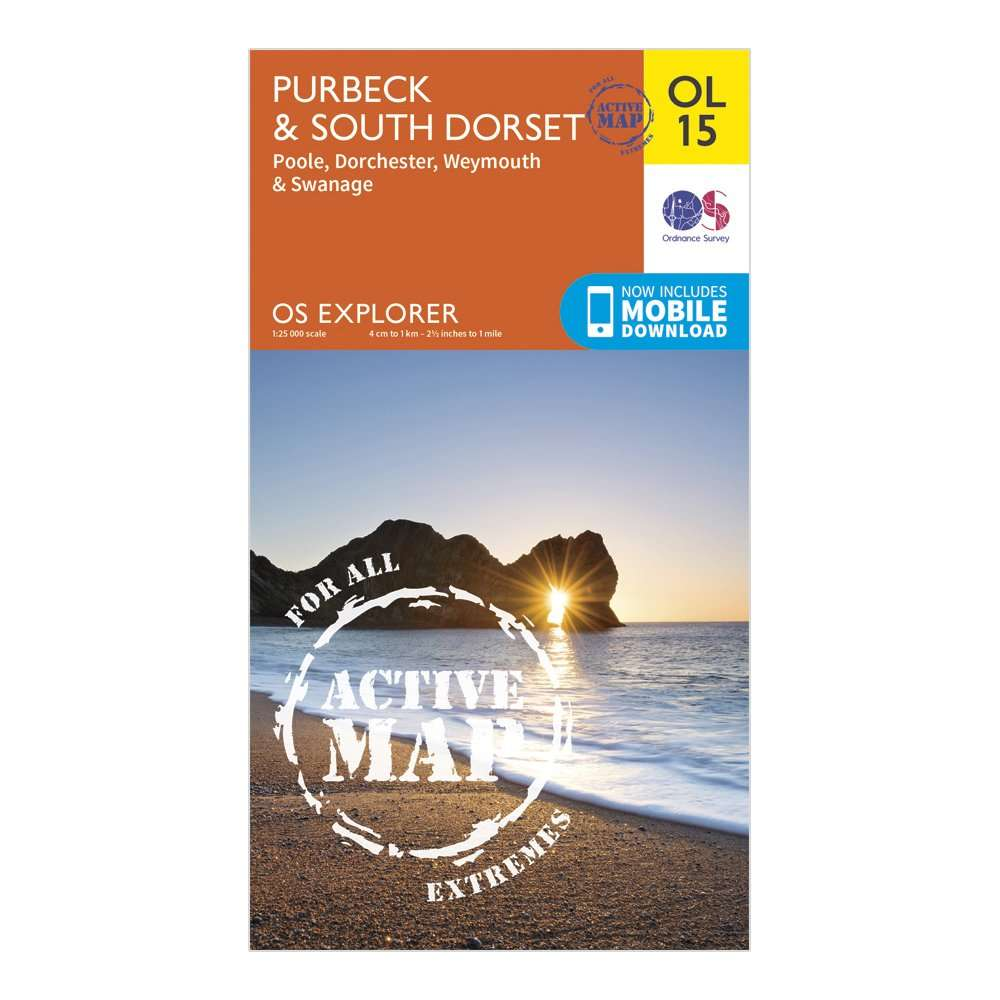 ORDNANCE SURVEY Explorer Active OL15 Purbeck & South Dorset Map With Digital Version