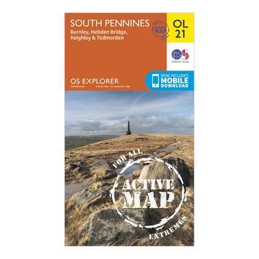Orange Ordnance Survey Explorer Active OL21 South Pennines Map With Digital Version