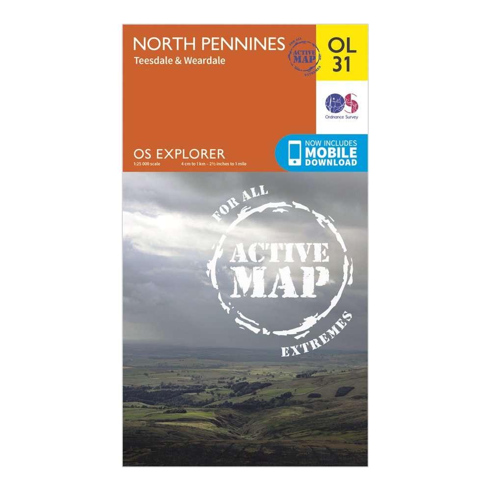 ORDNANCE SURVEY Explorer Active OL 31 North Pennines - Teesdale & Weardale Map